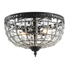 """Anita 12"""" Low-Ceiling Metal and Acrylic LED Flush Mount, Black and Clear"""