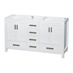"Wyndham Collection 60"" Sheffield White Double Vanity, No Countertop, No Sink"