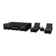 10-Piece Modern Outdoor Wicker Rattan Patio Furniture Sofa Sectional Couch Set