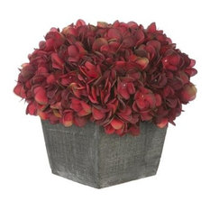 Artificial Burgundy Hydrangea in Grey-Washed Wood Cube