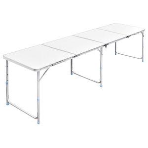 vidaXL Foldable Camping Table Height Adjustable Aluminium, 240x60 cm