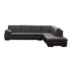 625 Modern Italian Leather Sectional by J&M, Gray, Right Facing Chaise
