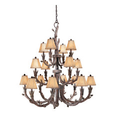 Vaxcel, Aspen Chandelier, Pine Tree Finish With Shades, 16-Light