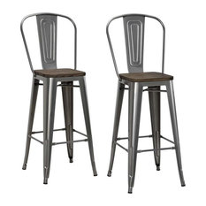 Dhp Luxor Bar Stools Set Of 2 Antique Gunmetal And