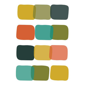 Abstract Squares Print in Midcentury Colours, 20x25 Cm