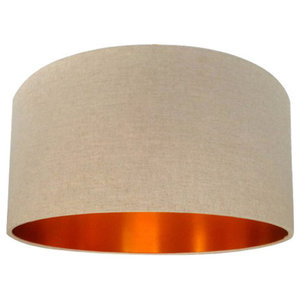 Linen Lampshade, Oatmeal and Brushed Copper, 35x20 cm