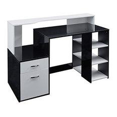 Modern Desk, MDF, High Gloss Finish, 3-Open Shelf and 2-Storage Drawer, Black