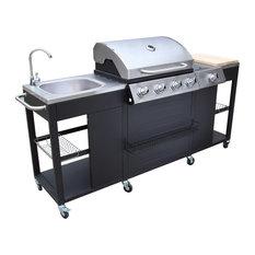 vidaXL Outdoor Montana Kitchen Barbecue, 4-Burner