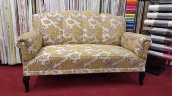 Sofa neu gepolstert und bezogen