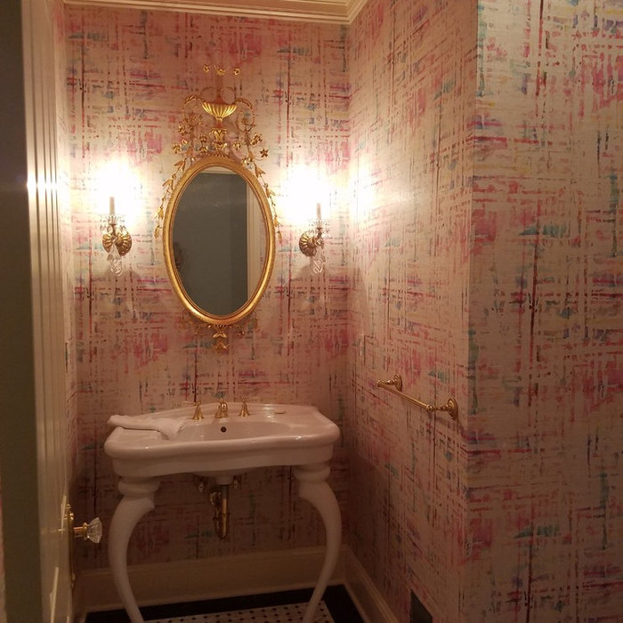 Grasscloth Install: Printed grasscloth in Powder Room