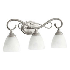 Three Light Faux Alabaster Glass Classic Nickel Vanity