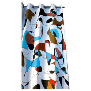 Retro Red and Blue Print Curtain