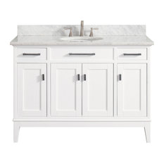 "Avanity Madison 49"" Vanity, White Finish, Carrera White Marble Top"