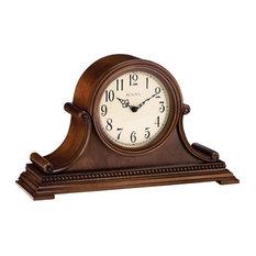 bulova bulova asheville tambour chiming mantel clock brown cherry finish burl