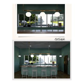 Cocina/ Comedor formal y Sala de Casa de campo