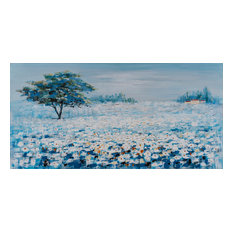"""A Blue Flower Field I"" Hand Painted Canvas Artwork; Fine Art; Modern"