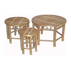 Bamboo 3-Piece Nesting Stools Set, Round