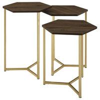 3-Piece Set Hex Wood And Metal Nesting Tables, Dark Walnut/ Gold