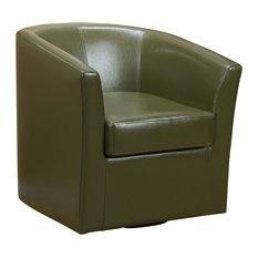 GDF Studio Corley Tea Green Leather Swivel Club Chair