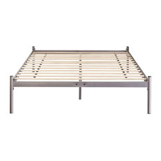 Dreams Bespoke Lucas Silver Minimalistic Metal Platform Bed Frame, King