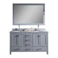 "Ariel Cambridge 61"" Double Sink Bathroom Vanity Set, Grey"