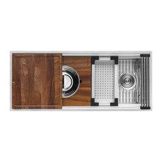 """Ruvati 45"""" Workstation Kitchen Sink Undermount Stainless Steel, RVH8333"""
