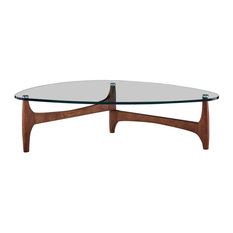 """Ledell 51"""" Coffee Table, Clear Glass With Walnut Base"""