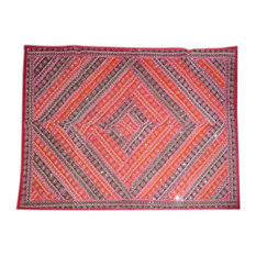 Mogul Interior - Red Blue Moti Beaded Embroidered Tapestry Vintage Sari Wall Hanging - Tapestries