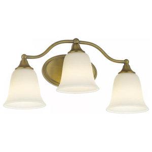 """3 Light Aged Brass Bath Light, 20"""""""