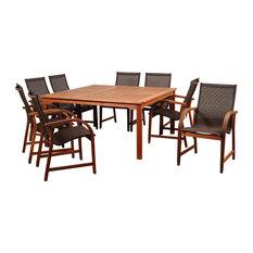 Amazonia Bahamas 9-Piece Eucalyptus Square Dining Set With Brown Sling Chair