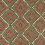 Green, Beige and Red, Diamond Southwest Style Upholstery Fabric By The Yard - This southwest chenille upholstery fabric is great for all indoor upholstery applications. This material is uniquely soft, durable and made in America! Any piece of furniture will look great upholstered in this material.