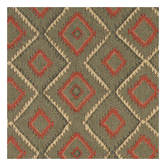 Green, Beige and Red, Diamond Southwest Style Upholstery Fabric By The Yard