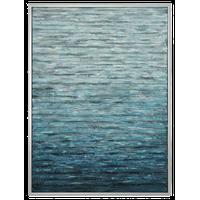 Large Blue White Coastal Waves Water Painting, Wall Art Turquoise Aqua Silver
