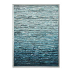 Large Blue White Coastal Waves Water Painting, Wall Art Turquoise Aqua Silver