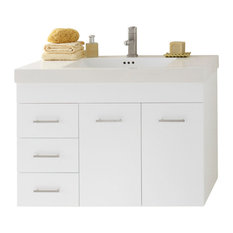 "Ronbow 36"" Bella Solid Wood Wall Mount Vanity Base Cabinet, White, Right"
