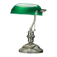 Banker'S Lamp, Antique Brass, Green Glass Shd, E27 Cfl 13W