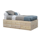 Twin Storage Bed, 6 Drawers, Unfinished