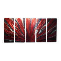 Metal Wall Art Decor Abstract Contemporary Modern- Radiance Large Red Black