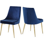 Meridian Furniture - Karina Velvet Dining Chairs, Set of 2, Navy, Gold Base - Extend contemporary panache to the dining room with this Karina Navy Velvet Dining Chair. This dining chair features upholstery in sleek navy velvet for a modern look and has an armless design for a retro-inspired vibe. The stark navy color makes it easy to blend in with your existing decor colors or make a contrasting statement with ease. The slanted legs of this chair are gold finished for added modernity and to provide reliable and durable support while you dine.