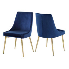 Meridian Furniture - Karina Velvet Dining Chairs, Set of 2, Navy, Gold Base - Dining Chairs