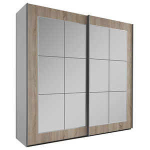 Bilbao Mirrored Wardrobe, Oak, Small