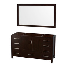 "Single Bathroom Vanity, No Countertop, No Sink, Espresso, 58"" Mirror, 59"""