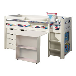 Pino 5-Piece Room Set With 4-Drawer Chest, White