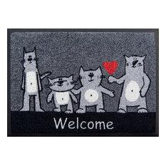 """""""Welcome"""" Cats Easy-Clean Door Mat"""