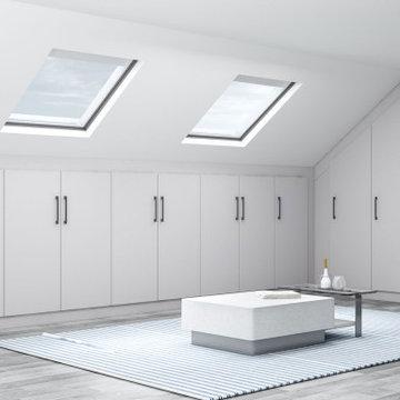 Loft Fitted wardrobe in Light grey matt finish supplied by Inspired Elements