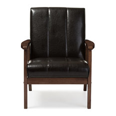 Nikko Faux Leather Wooden Lounge Chair, Dark Brown