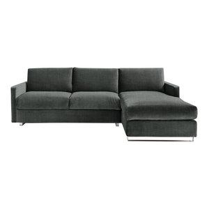 Felix Corner Sofa Bed, Pewter, 3 Seater, Right Hand Facing, Euro King