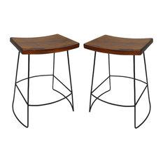 Reece Saddle Seat Counter Stool, Set of 2, Chestnut/Black