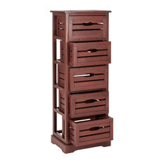 5-Drawer Storage Unit in Red Finish