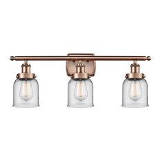 Small Bell 3 Light Bathroom Vanity Light in Antique Copper